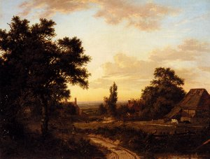 Famous paintings of Villages: A View Of Addington, Surrey, With The Shirley Mills Beyond