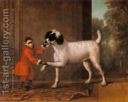 John Wootton: A Favorite Poodle And Monkey Belonging To Thomas Osborne, The 4th Duke of Leeds - reproduction oil painting