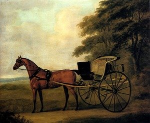 Famous paintings of Horses & Horse Riding: A Horse And Carriage In A Landscape