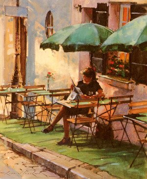 Reproduction oil paintings - Raymond Leech - Only A Rose At Cafe Rose