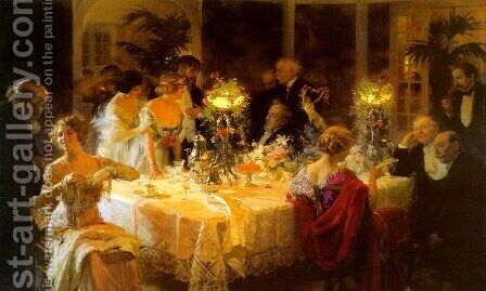 The Dinner Party by Jules Grun - Reproduction Oil Painting