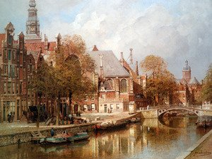 Famous paintings of Ships & Boats: The Oude Kerk and St. Nicolaaskerk, Amsterdam