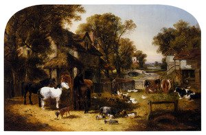 Famous paintings of Villages: An English Farmyard Idyll