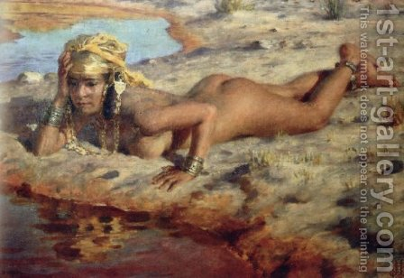 By the Wadi by Alphonse Etienne Dinet - Reproduction Oil Painting