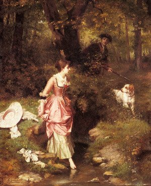 Emile Pierre Metzmacher reproductions - A Young Beauty Crossing a Brook with a Hunter Beyond