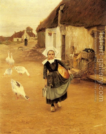 The Little Goosegirl by Gustaf Theodor Wallen - Reproduction Oil Painting