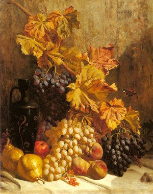 Famous paintings of Butterflies: A Still Life with Grapes, Pears, Peaches, an Urn and a Butterfly