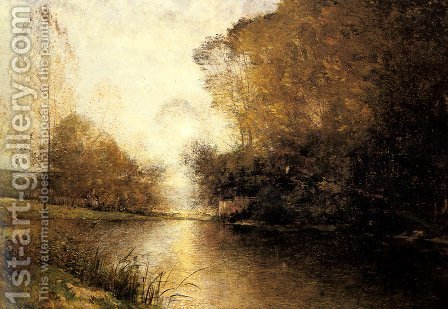 A Moonlit River Landscape with a Figure by Alfred Wahlberg - Reproduction Oil Painting
