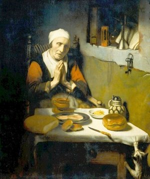 Famous paintings of Furniture: Old Woman at Prayer