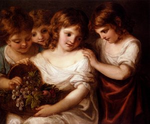 Reproduction oil paintings - Angelica Kauffmann - Children With A Bird's Nest And Flowers