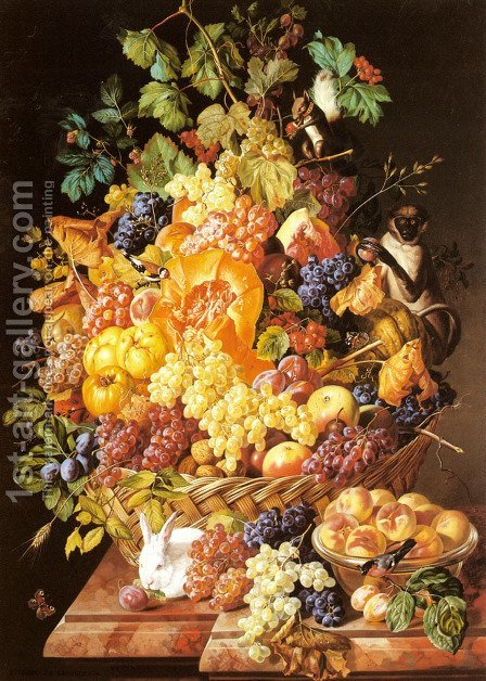 Leopold Zinnogger: A Basket of Fruit with Animals - reproduction oil painting