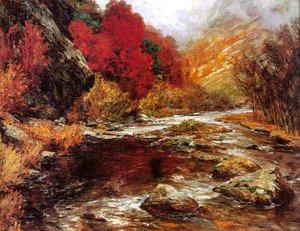 Famous paintings of Seasons: A River in an Autumnal Landscape