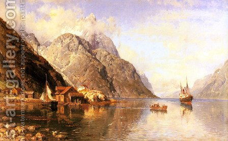 Village on a Fjord by Anders Monsen Askevold - Reproduction Oil Painting