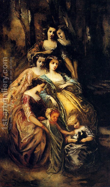 Empress Eugenie And Her Attendants by Adolphe Monticelli - Reproduction Oil Painting