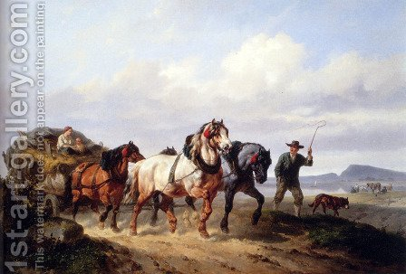 Wouterus Verschuur: Horses Pulling A Hay Wagon In A Landscape - reproduction oil painting