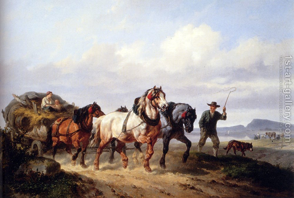 Huge version of Horses Pulling A Hay Wagon In A Landscape