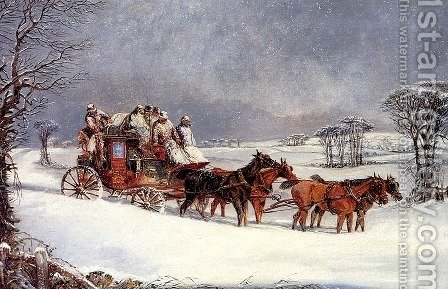 The York to London Royal Mail on the Open Road in Winter by Henry Thomas Alken - Reproduction Oil Painting