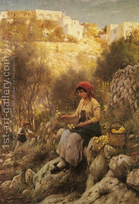 Young Girls Picking Flowers by Horace Fisher - Reproduction Oil Painting