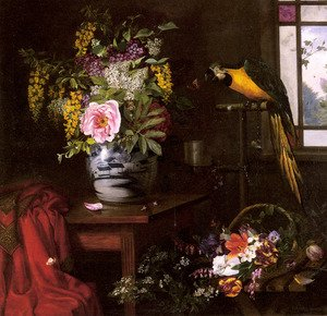 A Still Life With A Vase, Basket And Parrot