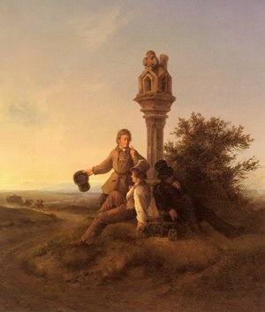 Reproduction oil paintings - Friedrich Simon - Rastende Wanderer (Resting Travellers)