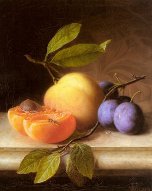 Famous paintings of Insects: Stilleben Mit Pfirsich Und Pflaumen (Still Life with Peaches and Prunes)