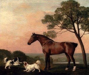 Famous paintings of Horses & Horse Riding: A Bay Hunter With Two Spaniels