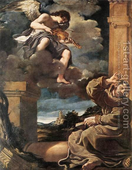 St Francis with an Angel Playing Violin by Giovanni Francesco Guercino (BARBIERI) - Reproduction Oil Painting