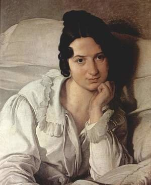 Reproduction oil paintings - Francesco Paolo Hayez - Portrait of Carolina Zucchi (or Carolina Zucchi in bed)