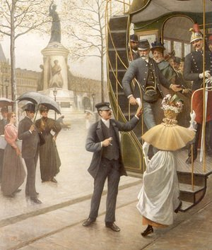 Famous paintings of Parasols and Umbrellas: Catching the Trolley