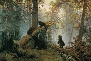 Famous paintings of Trees: Morning in the Pine-tree Forest