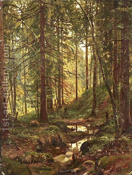 Stream by a Forest Slope by Ivan Shishkin - Reproduction Oil Painting