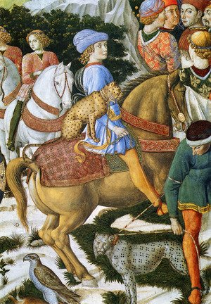 Famous paintings of Horses & Horse Riding: Portrait Of Giuliano De Medici (Detail)