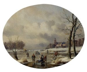 Skaters On A Frozen Waterway, A 'Koek En Zopie' In The Distance