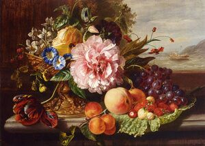 Famous Paintings Of Food, Beverages, Kitchen: A Still Life With Flowers And  Fruit