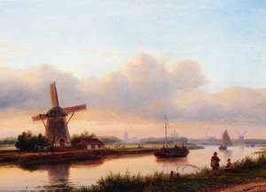 A Panoramic Summer Landscape With Barges On The Trekvliet, The Hague In The Distance