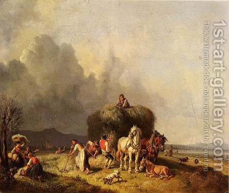 Loading The Hay-Wagon by Heinrich Bürkel - Reproduction Oil Painting