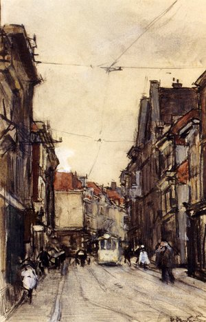Famous paintings of Trams: A Busy Street, The Hague