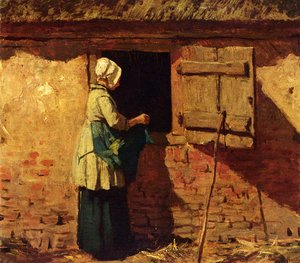 Anton Mauve reproductions - A Peasant Woman By A Barn