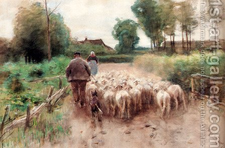 Anton Mauve: Bringing Home The Flock - reproduction oil painting