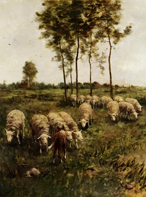 Reproduction oil paintings - Anton Mauve - Watching The Flock
