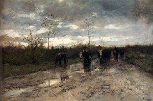 Reproduction oil paintings - Anton Mauve - Weg Met Koeien: Homeward Bound