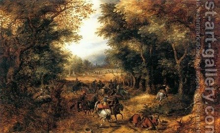 David Vinckboons: Forest Scene with Robbery - reproduction oil painting