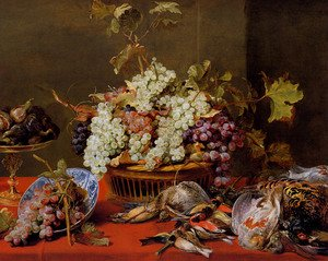 A Still Life Of Grapes In A Basket And A Bunch In A Wan-li 'Kraak' Porcelain Bowl With Figs In A Tazza On A Red Draped Ledge With A Woodstock, Pheasants, A Partridge And Other Birds