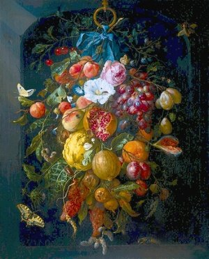 Famous paintings of Butterflies: Festoon of Fruit and Flowers