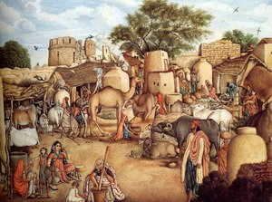 A Village Scene In The Punjab