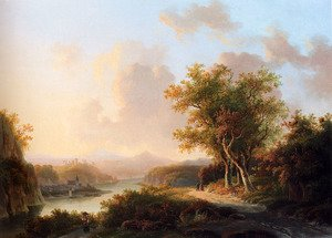Famous paintings of Markets: A Rhenish Summer Landscape