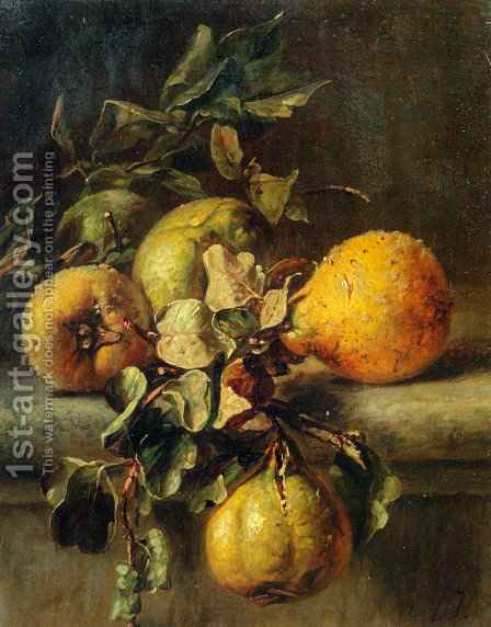 Quinces on a Ledge by Adriana-Johanna Haanen - Reproduction Oil Painting