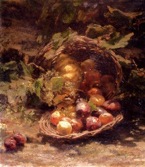 A Wicker Basket Of Plums, Apricots And A Pumpkin In An Autumnal Landscape