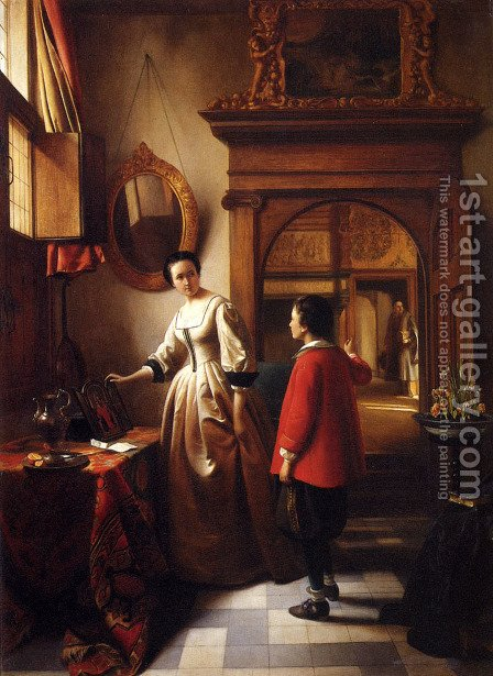 The Guest's Arrival by Hubertus van Hove - Reproduction Oil Painting