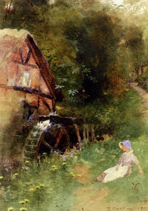 Thomas Mackay reproductions - A Young Girl Seated Near A Watermill